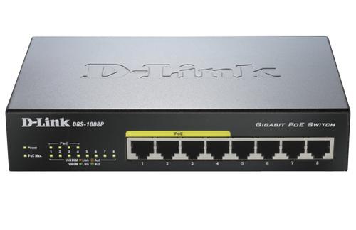 D-Link 8-port 10/100/1000 Desktop Switch w/ 4 PoE Ports DGS-1008P