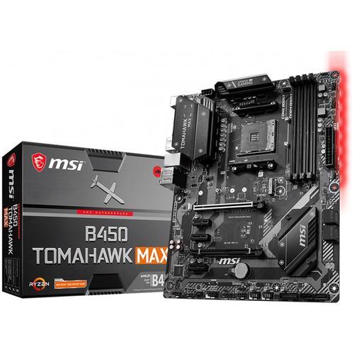 MSI Main Board Desktop B450 TOMAHAWK MAX (SAM4, 4xDDR4, 2xPCI-Ex16, 3xPCI-Ex1, USB3.2, USB2.0, 6xSATA III, M.2, Raid,DVI-D, HDMI, GLAN) ATX Retail B450_TOMAHAWK_MAX