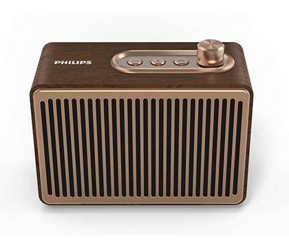 Philips Bluetooth безжична портативна колонка, TAVS500, 10W, Ретро дизайн, Дървен корпус, до 10 часа време за възпроизвеждане, AUX