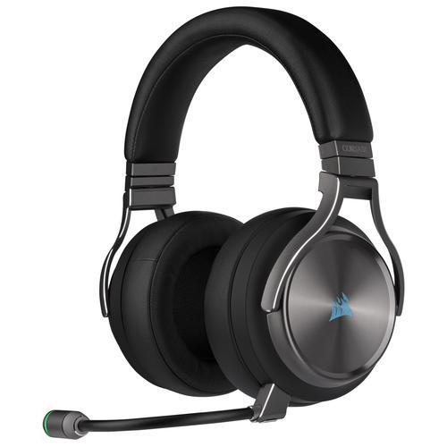 Corsair Геймърски слушалки Virtuoso RGB Wireless SE with Slipstream High-Fidelity Gaming Headset (50mm неодимови говорители, CA-9011180-EU, 7.1 съраунд, 20 часа с едно зареждане, контрол на звука, микрофон, USB) Gunmetal