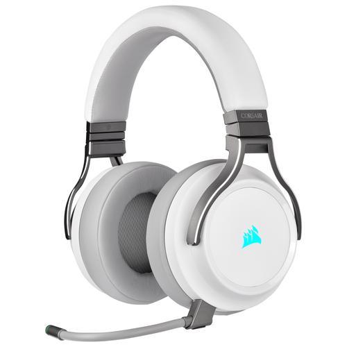 Corsair Геймърски слушалки Virtuoso RGB Wireless with Slipstream High-Fidelity Gaming Headset (50mm неодимови говорители, CA-9011186-EU, 7.1 съраунд, 20 часа с едно зареждане, контрол на звука, микрофон, USB) White
