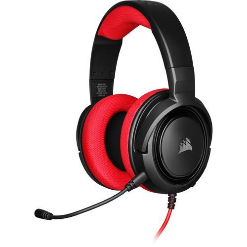Corsair Геймърски слушалки HS35 Gaming Headset (50mm неодимови говорители, CA-9011198-EU, контрол на звука, микрофон) Red