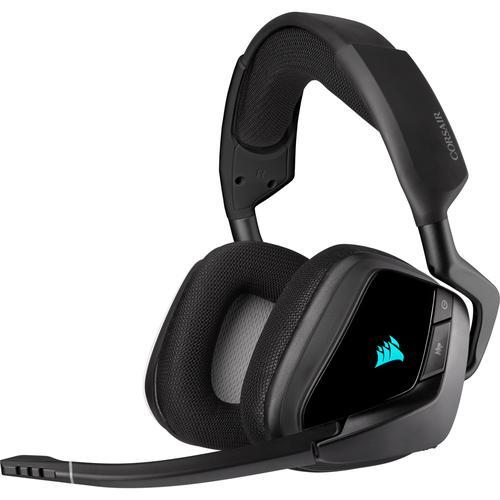 Corsair Геймърски слушалки VOID RGB ELITE Wireless Premium Gaming Headset with Dolby 7.1 (50mm неодимови говорители, CA-9011201-EU, RGB, 7.1 съраунд, 16 часа с едно зареждане, контрол на звука, микрофон, USB) Carbon Black