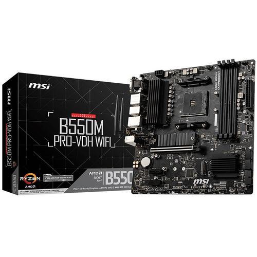 MSI Main Board Desktop B550M PRO-VDH WIFI, AM4, 4xDDR4, 1xPCI-Ex16, 2xPCI-Ex1, 4xSATA3, 2xM2, 2xUSB3.2 Gen2(1xType-C +1xType-A), 5xUSB3.2 Gen1/DP/VGA/HDMI B550M_PRO-VDH_WIFI