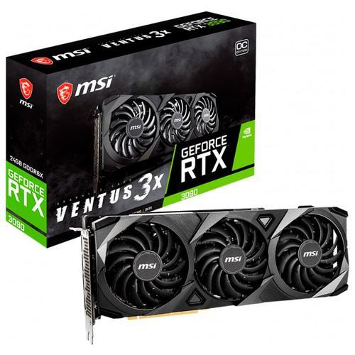 MSI Video Card NVidia GeForce RTX 3090 VENTUS 3X 24G OC, GDDR6X 24GB/384bit, Boost: 1725 MHz, PCIE-4.0, DisplayPort x3 (v1.4a), HDMI 2.1 x1, VENTUS Fan 3X, Retail RTX_3090_VENTUS_3X_24G_OC