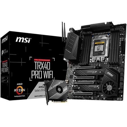 MSI Main Board Desktop AMD TRX4 (8xDDR4, Realtek ALC1220, 2x Intel® I211AT, 4xPCIEX16, 1xPCIEX1, 2x M.2, 8 xSATA 6Gb/s, RAID 0,1,10, 1x USB Type-C, 4xUSB 3.2 Gen 1, 4xUSB 2.0),ATX, Retail TRX40_PRO_WIFI
